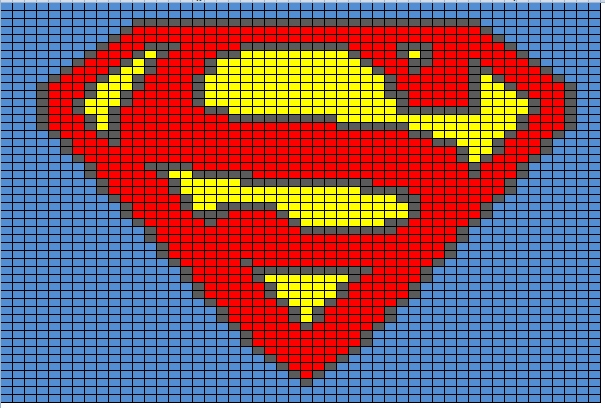 Superman Knitting Pattern : Butterflys Creations: Superhero Afghan: Superman (Block 2)
