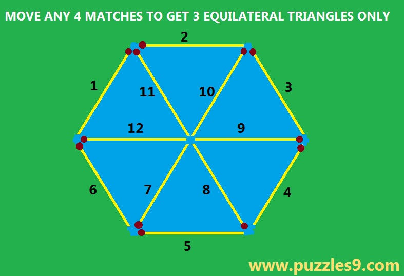 puzzles9 - puzzle 48 - move 4 matches to get 3 equilateral triangles