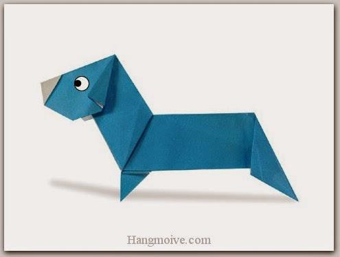 Cách gấp, xếp con Chó Duchshund kiểu mới bằng giấy origami - Video hướng dẫn xếp hình Động vật - How to fold a Duchshund