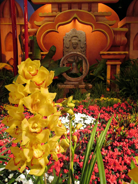 Yellow orchids with Indian wall plate
