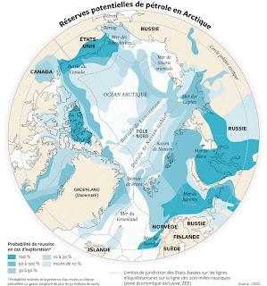 Réserve potentielles de pétrole en Arctique