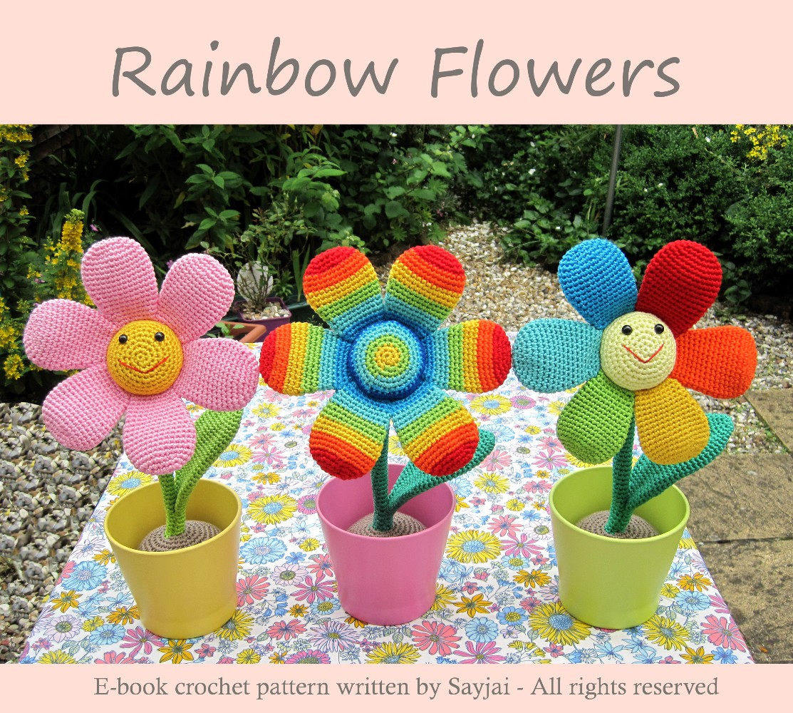 Amigurumi Flower Tutorial : Rainbow Flower - Sayjai Amigurumi Crochet Patterns ~ K and ...