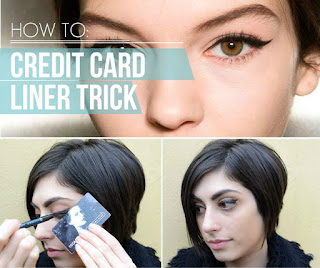 Credit card cat eye liner trick