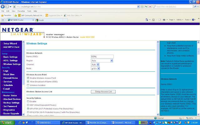 NETGEAR WiFi Modem Configuration