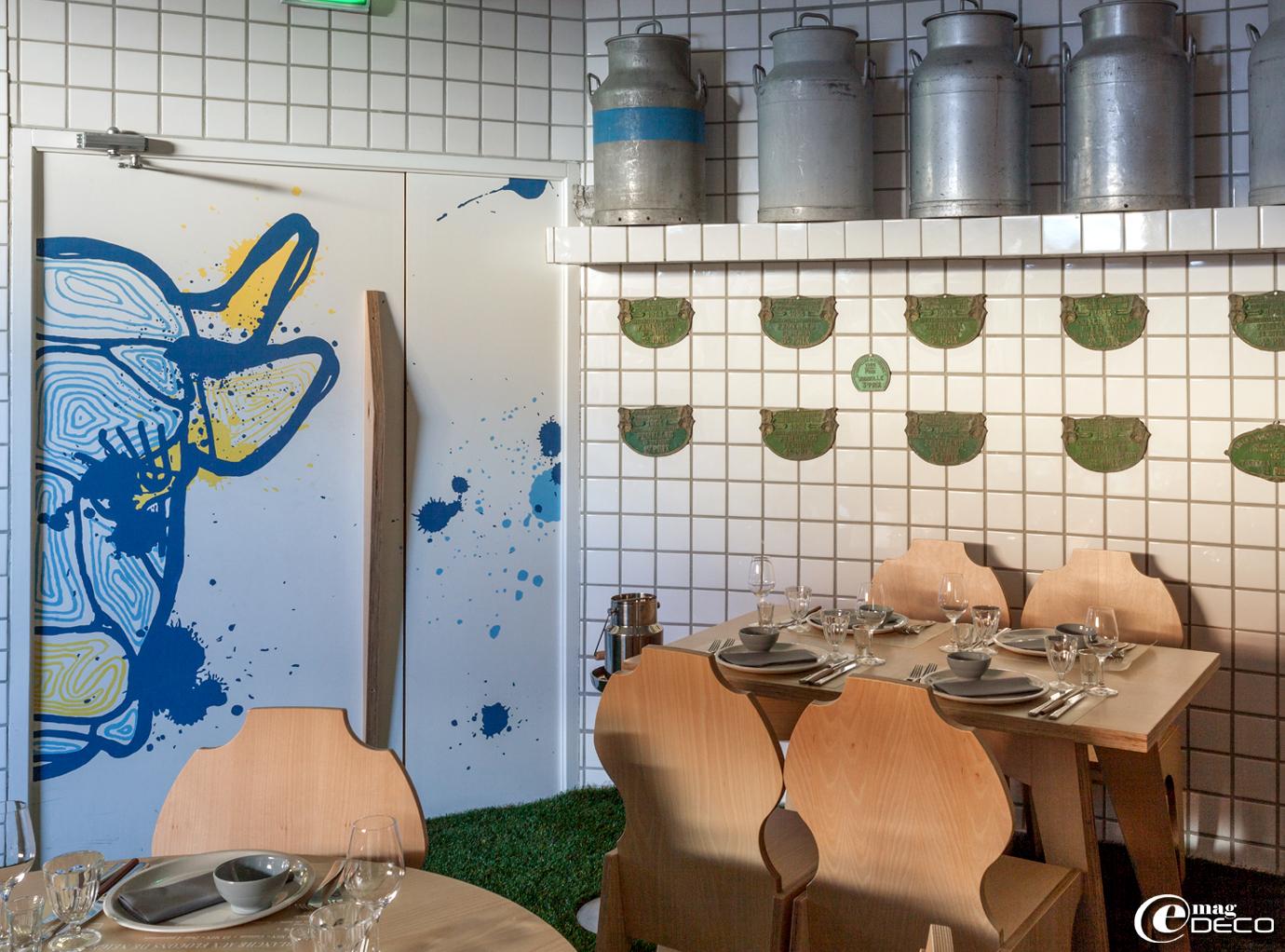 Peinture de Wozdat réalisée dans le restaurant 'La Laiterie' de l'hôtel 'Altapura' à Val Thorens