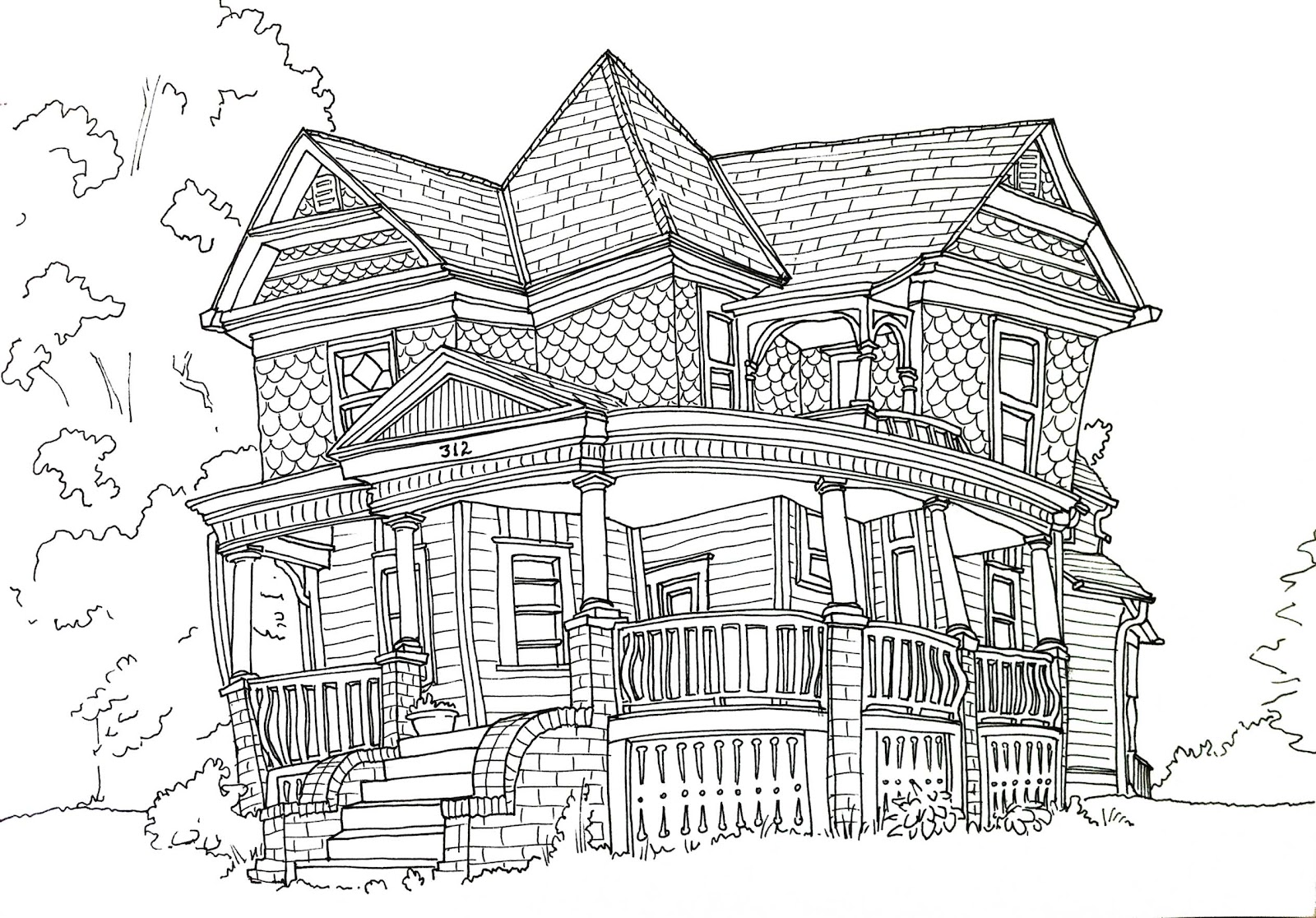 Line Art House : Steven reddy the old draper house in sidney iowa