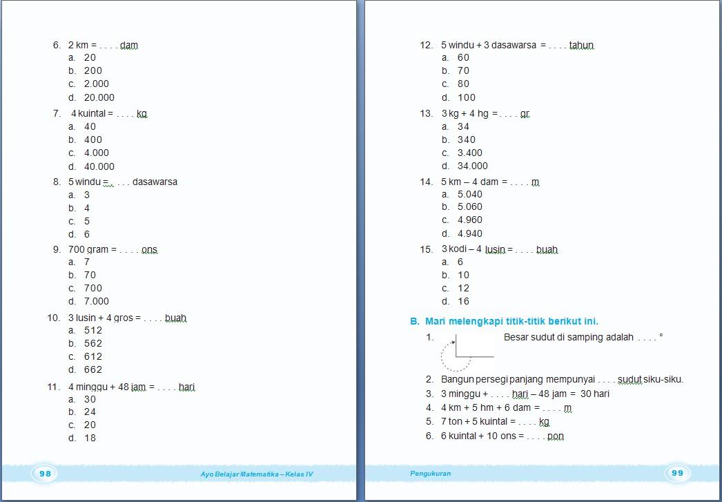 Matematika Pengukuran Bab 3 Kelas 4 Sd Arrayhan E Learning