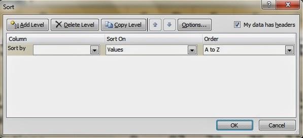 Pilihan dalam fitur Short Excel