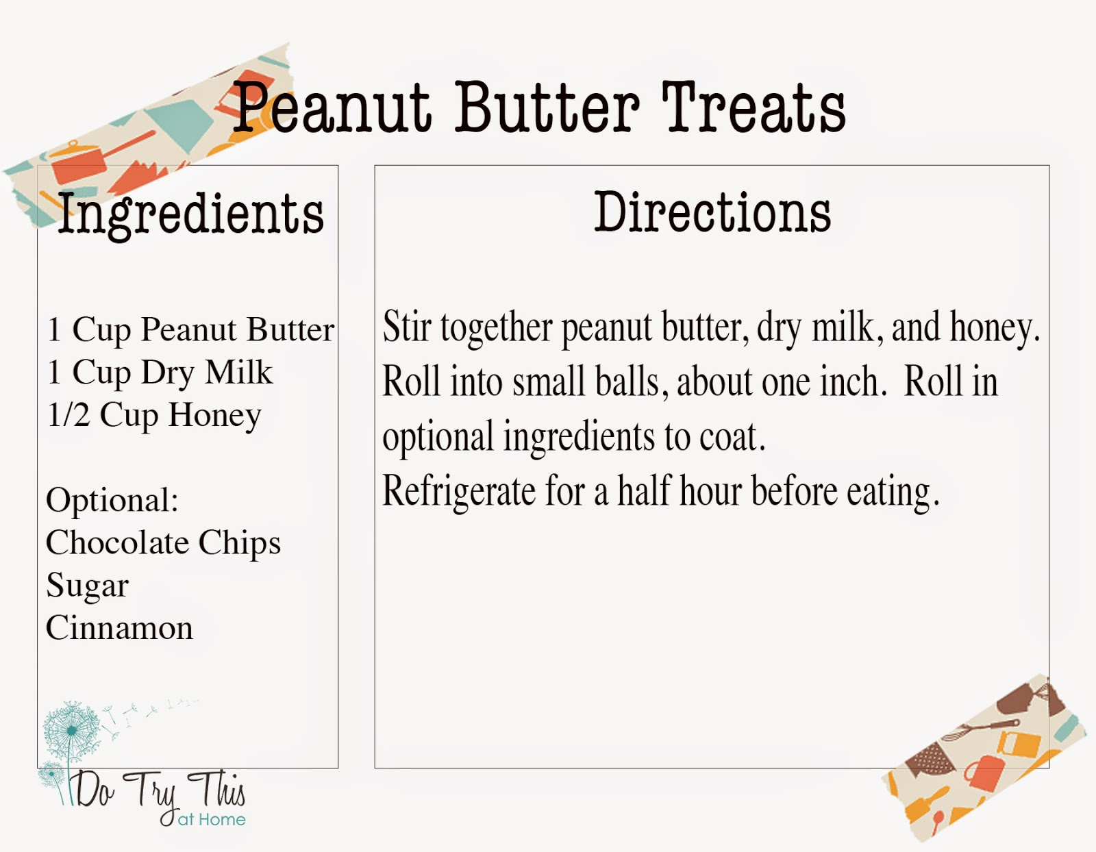Do Try This at Home: Recipe for Peanut Butter Treats