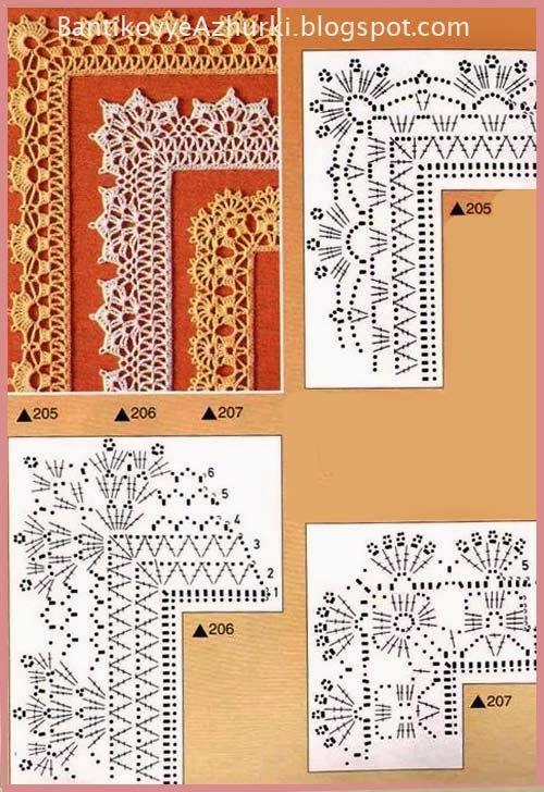 Схемы для вязания крючком кружев и обвязки края