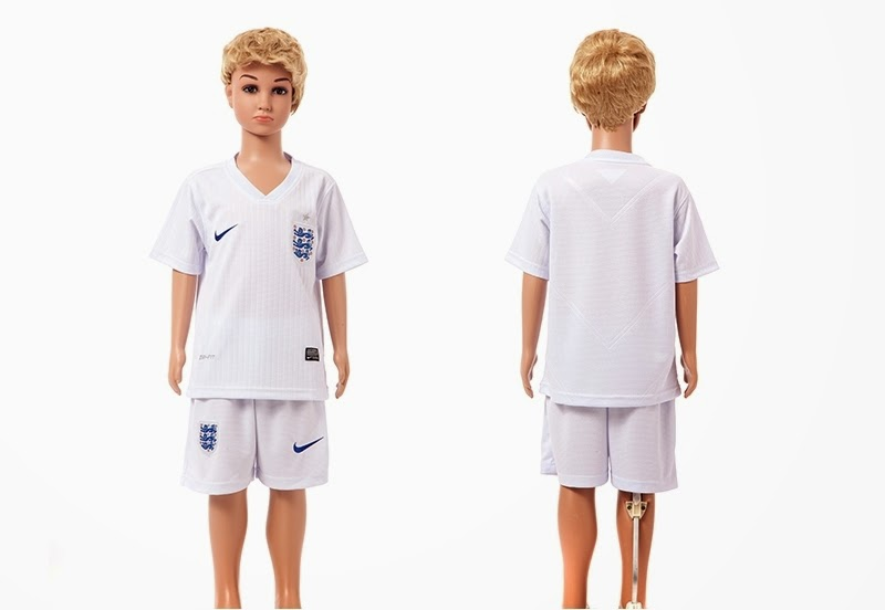 2014 World Cup England Home Kids White jersey
