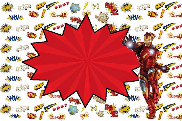 Para hacer invit.aciones, tarjetas, marcos de fotos o etiquetas, para imprimir gratis de Iron Man.
