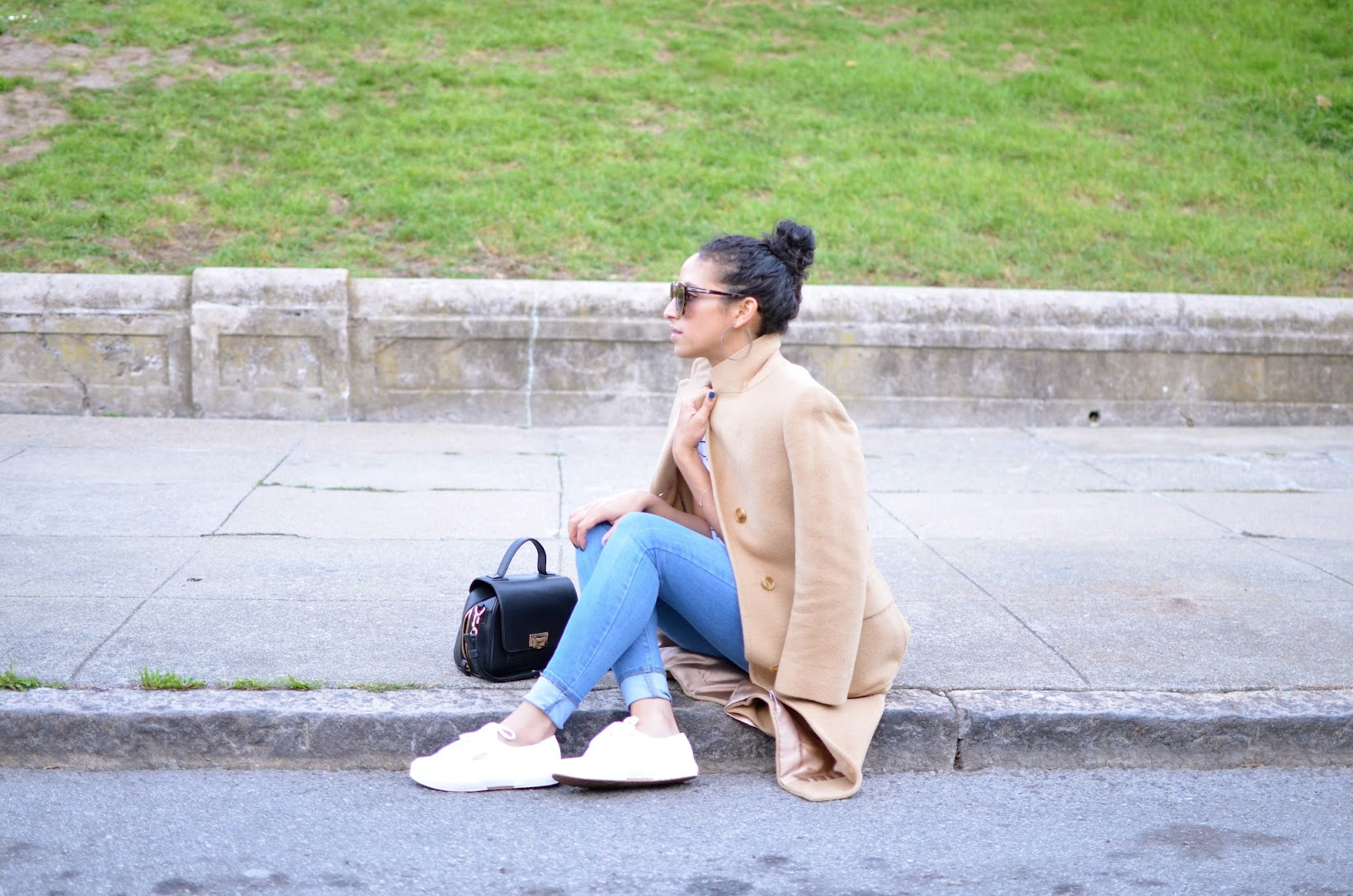 Live in Levi's, Le Tote, Levi's denim, vintage coat, thrifted coat, camel coat, long camel coat, Superga sneakers, Karen Walker Super Sunglasses, striped tee,