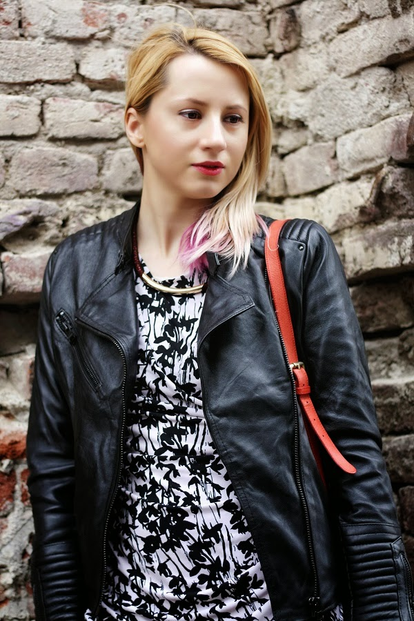 balck and white H&M dress Pull & bear leather jacket