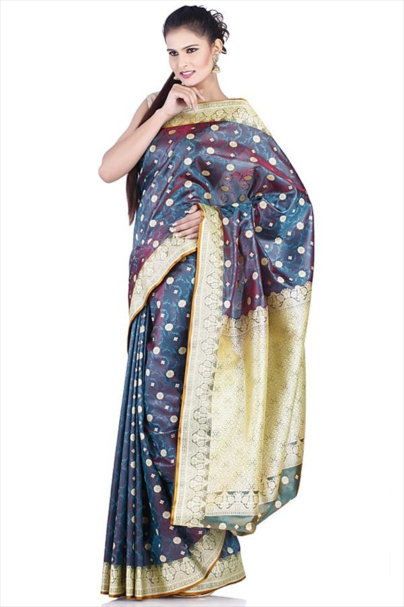 Midnight Blue Art Kattan Silk Banarasi Saree