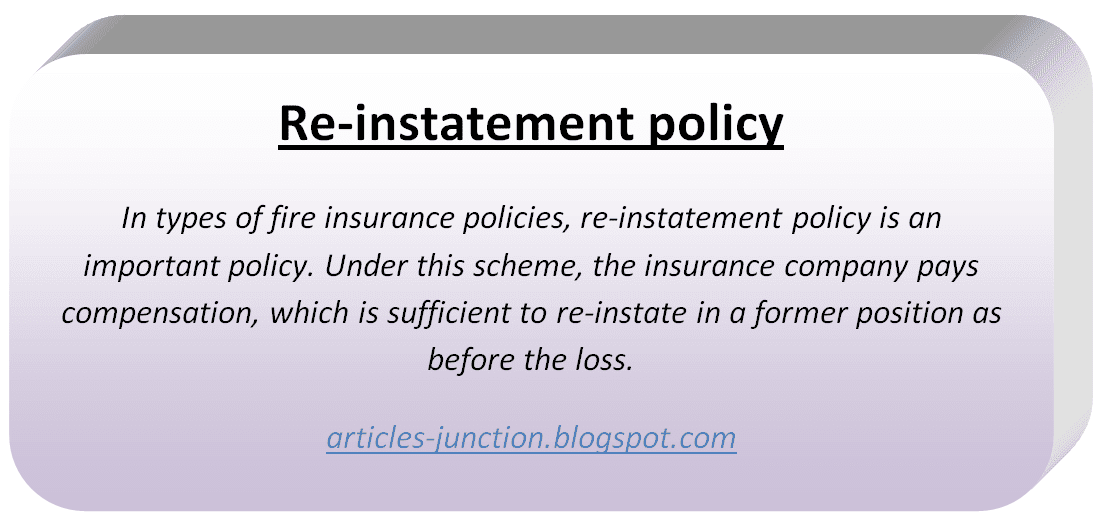 Re-instatement policy