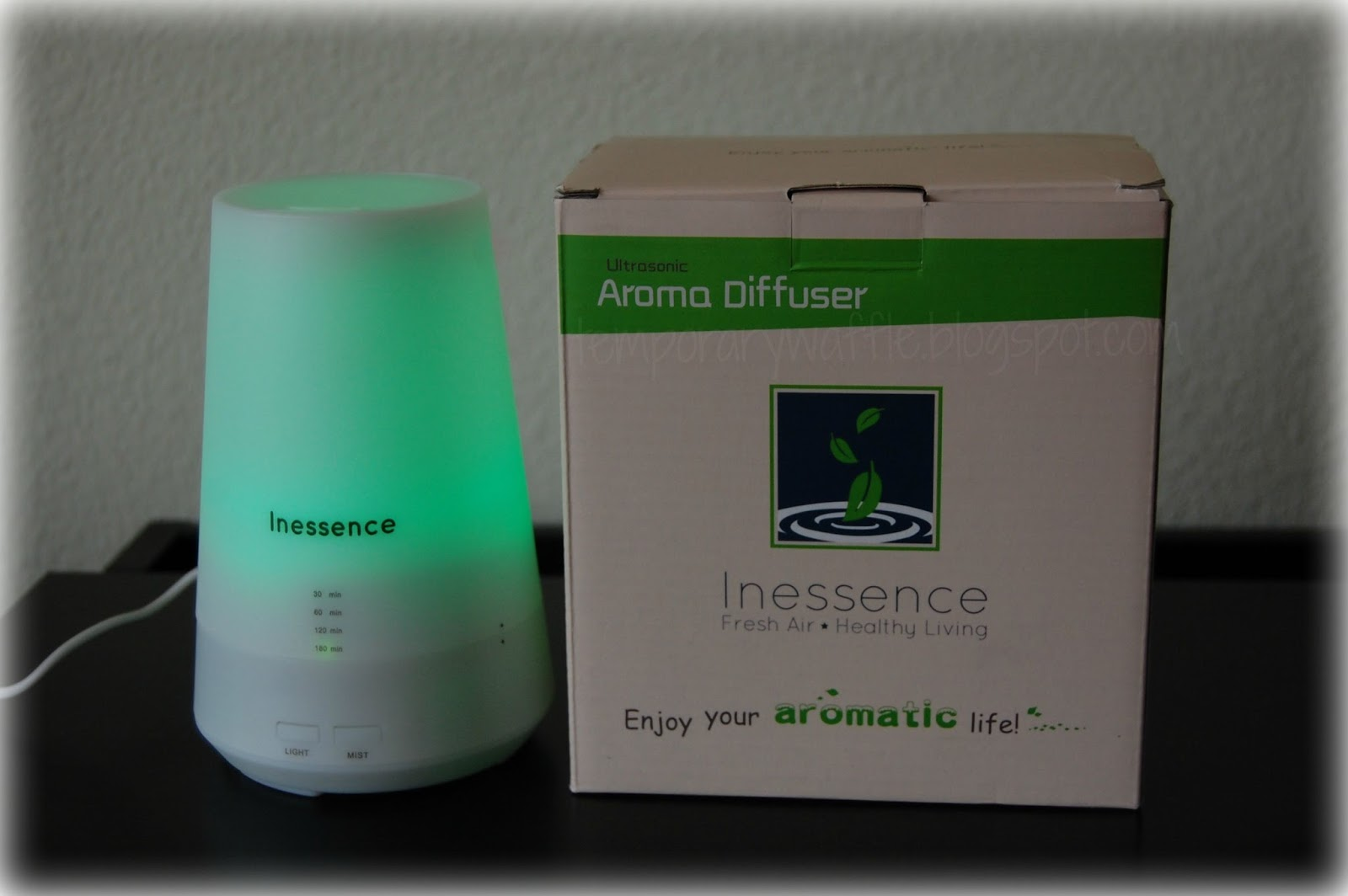 by diffusing oils in the inessence ultrasonic essential oil diffuser #2E936C