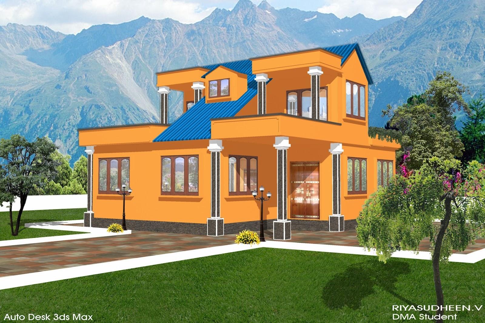 Kerala house 3d design orange used software autodesk 3ds max adobe photoshop year 2011 from g tec computer center melattur