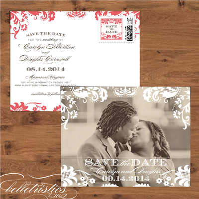damask diy printable wedding photo save the date post card design