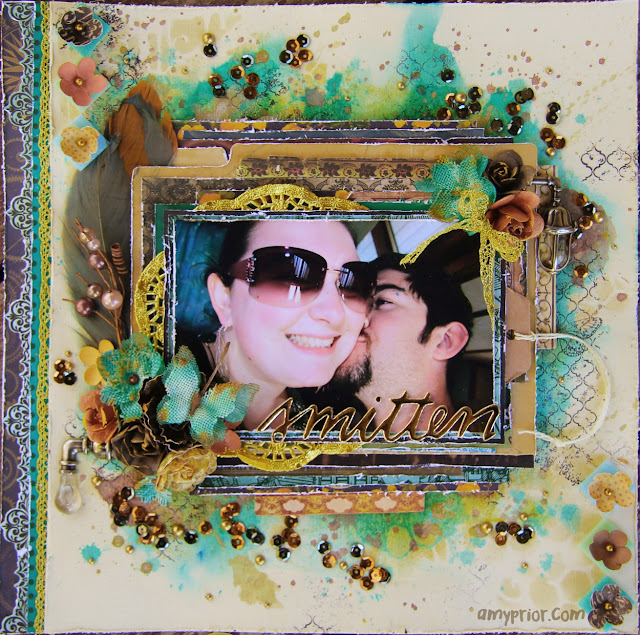 mixed media love/couples layout video tutorial