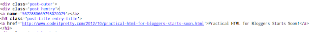 HTML source view of a page title