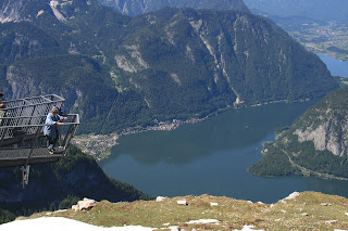 Five Fingers lookout and Hallstattsee from Kripenstein on Dachtein