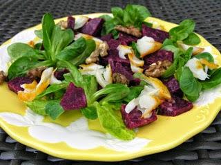 Salade de mâche, haddock et betterave