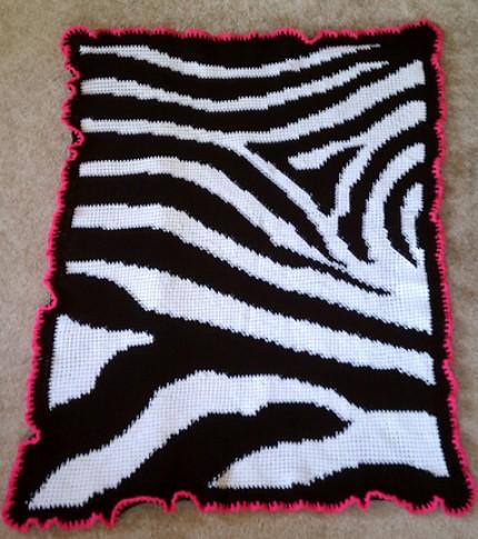 Zebra Print Baby Blanket - Free Pattern