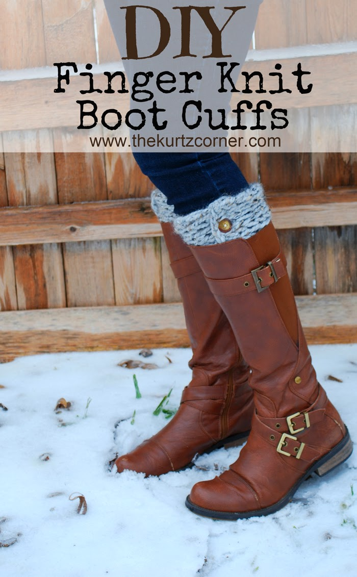 The kurtz corner diy finger knitting 30 minute boot cuffs im back with a new knitting tutorial excited i am i made those boot cuffs in 30 minutes with just my fingersokay youll need some scissors buttons bankloansurffo Images