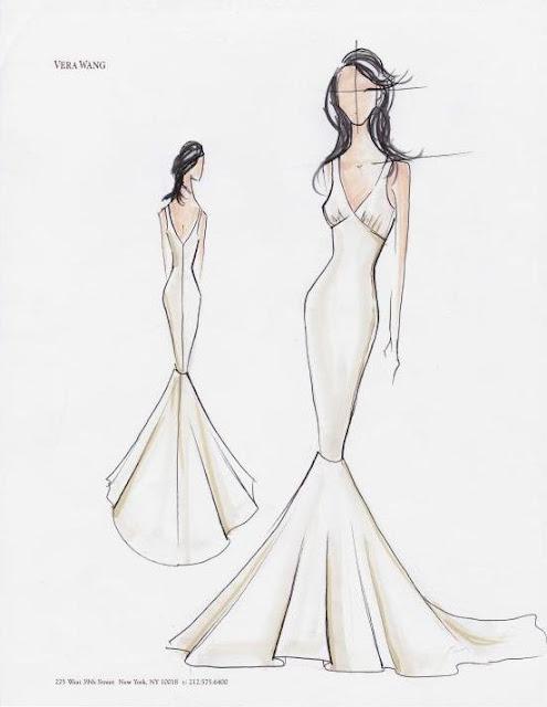 Croqui do vestido de noiva de Kim Kardashian
