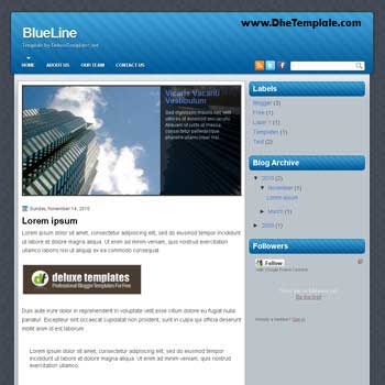 BlueLine blogger template. image slideshow template blogger