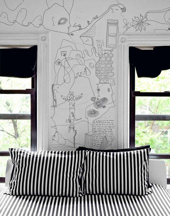 Istedet for tapet er der her tegnet på væggene - Bettina Holst Blog