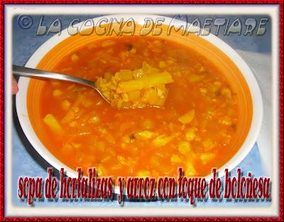 Sopa de hortalizas y arroz con toque de boloñesa CIMG2280