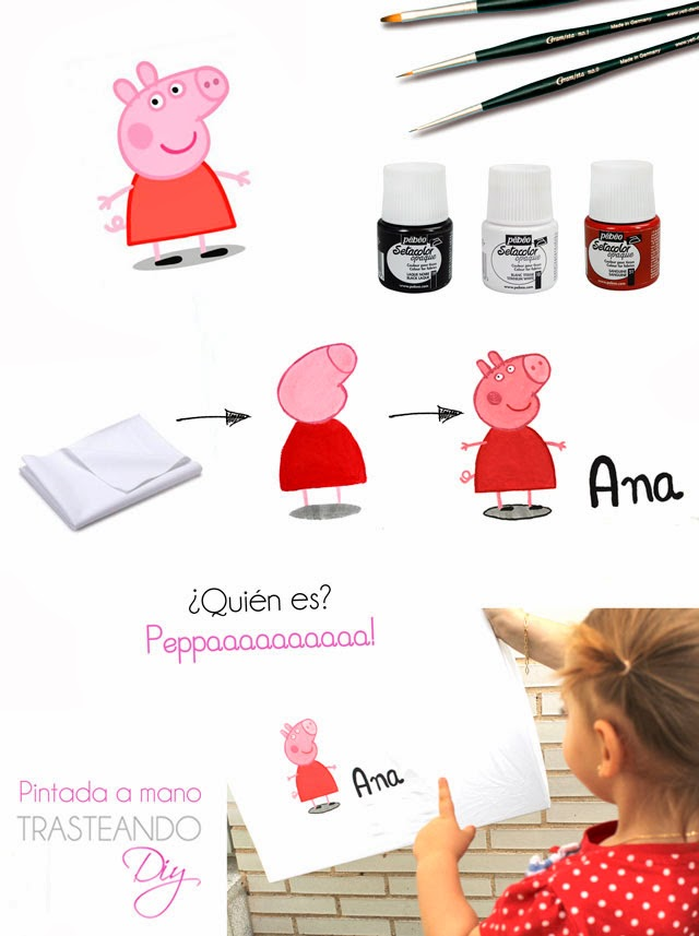 DIY PEPPA PIG PINTADA MANO CRAFT NIÑOS