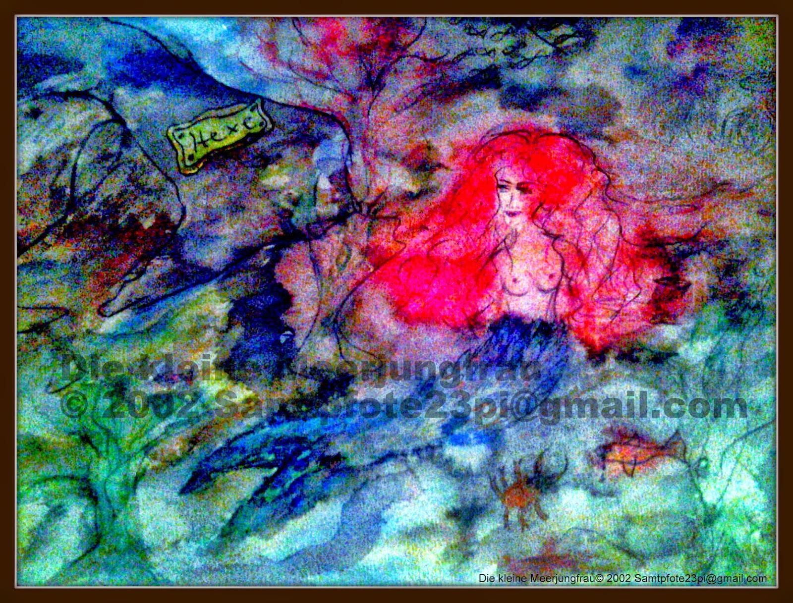 Die kleine Meerjungfrau, Aquarell auf Papier, © 2002 Samtpfote23pi@gmail.com