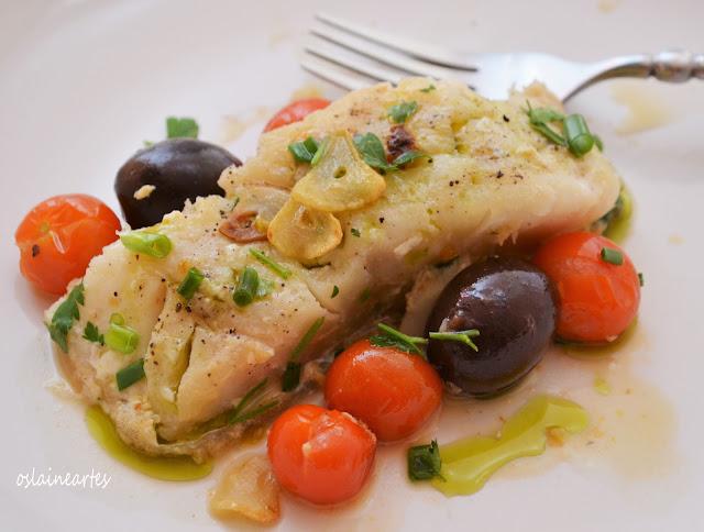 Bacalhau com Tomatinhos e Azeitonas