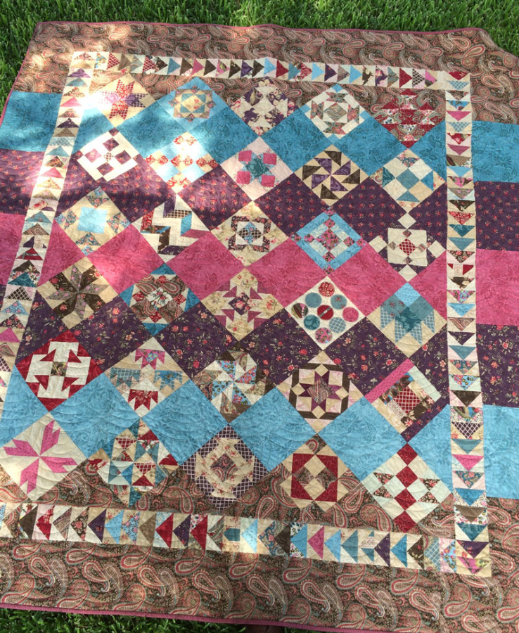 Sisters And Quilters Moda Shuffle Sampler Block Quilt