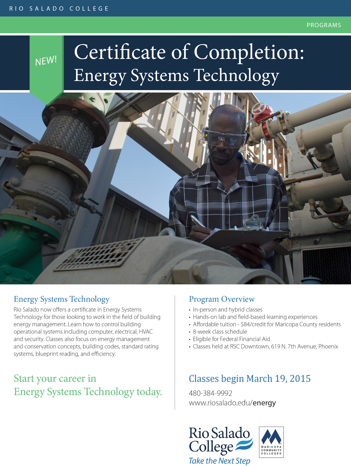 Flier for Energy Systems Technology.  See text details below.