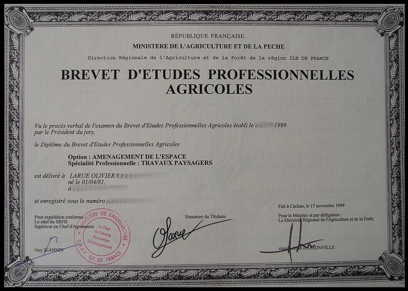 Olivier larue for Diplome espace vert