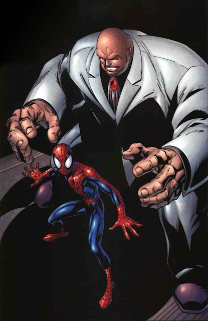 Dibujo de Spiderman y Kingpin por Mark Bagley