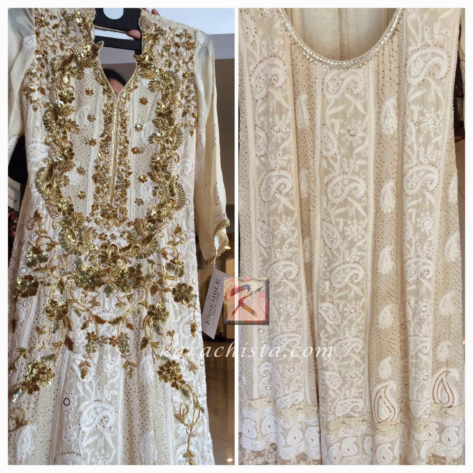 Off white lucknowi chikankari with gold work Gorgeous chikankari outfit by Indian designer Nishi Mehra at Ensemble Karachi