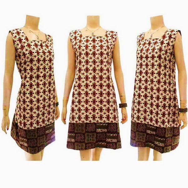 DB3727 Mode Baju Dress Batik Modern Terbaru 2014