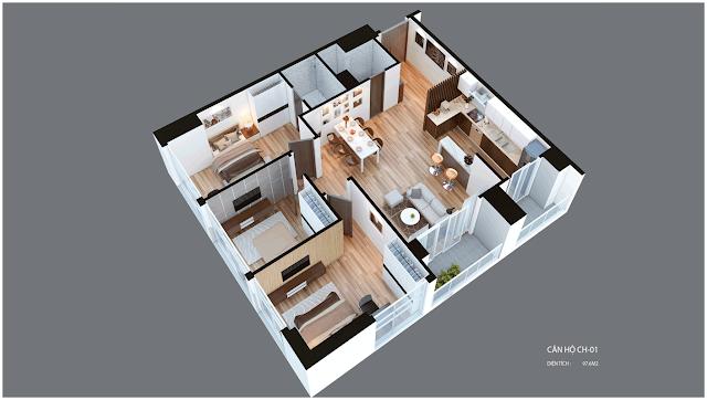 Mặt bằng căn hộ Imperia Garden CH01 97,6 m2