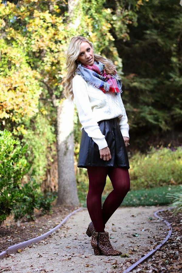 tartan scarf burgundy tights leopard boties