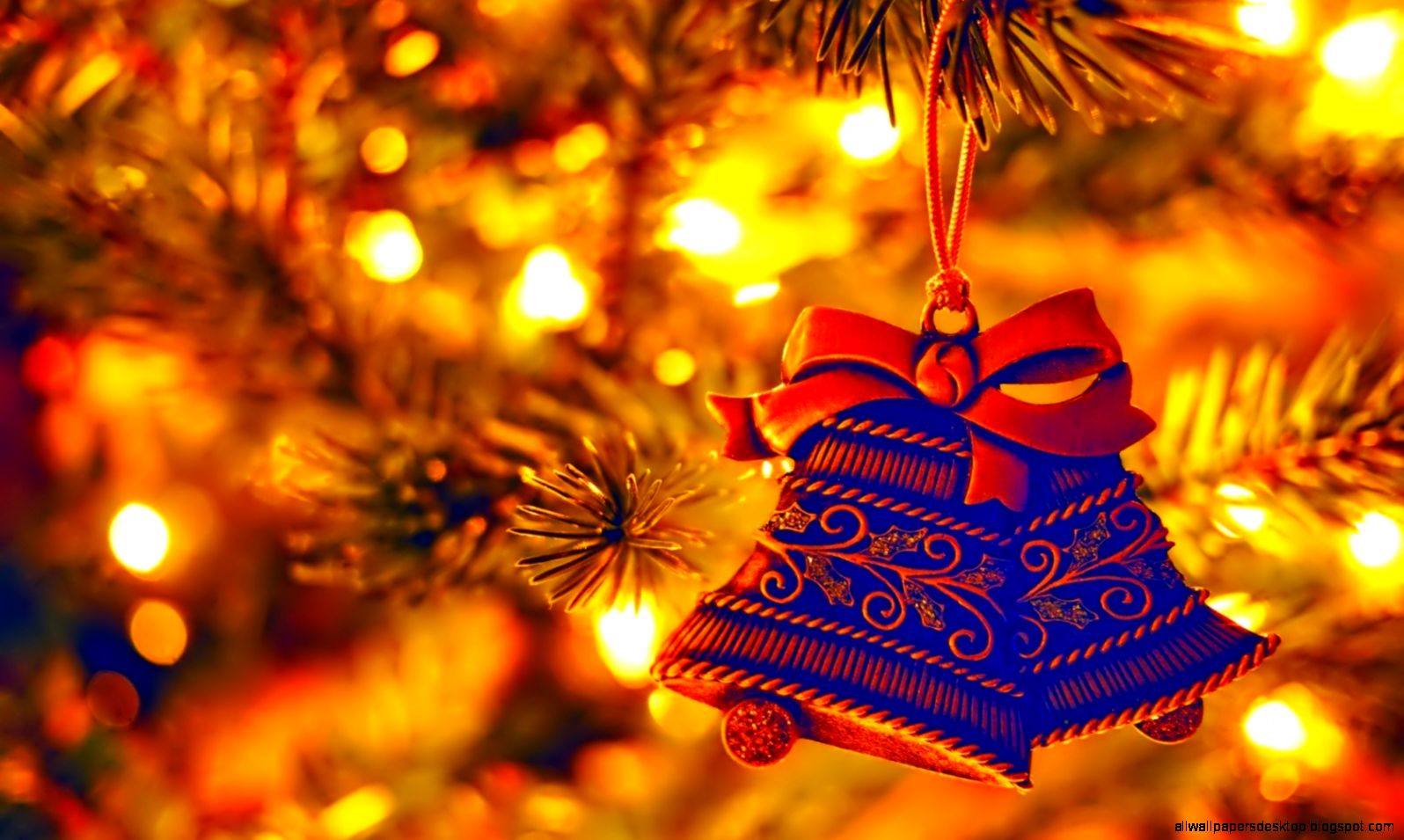 Christmas Tree Decorations Bells Holiday New Year wallpaper