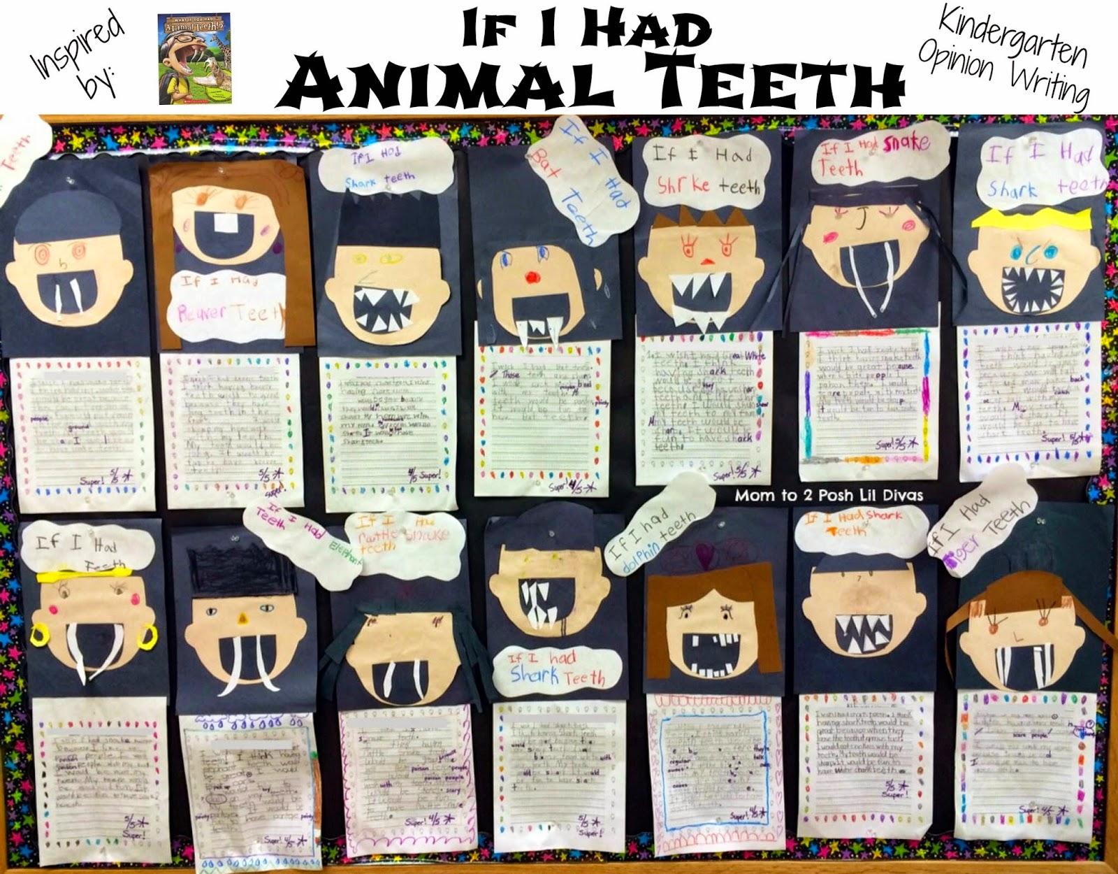 Kindergarten Opinion Writing If I Had Animal Teeth