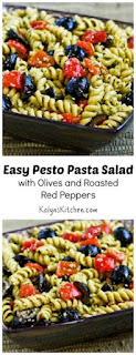 Easy Pesto Pasta Salad Recipe with Olives and Roasted Red Peppers (Meatless) [from KalynsKitchen.com]