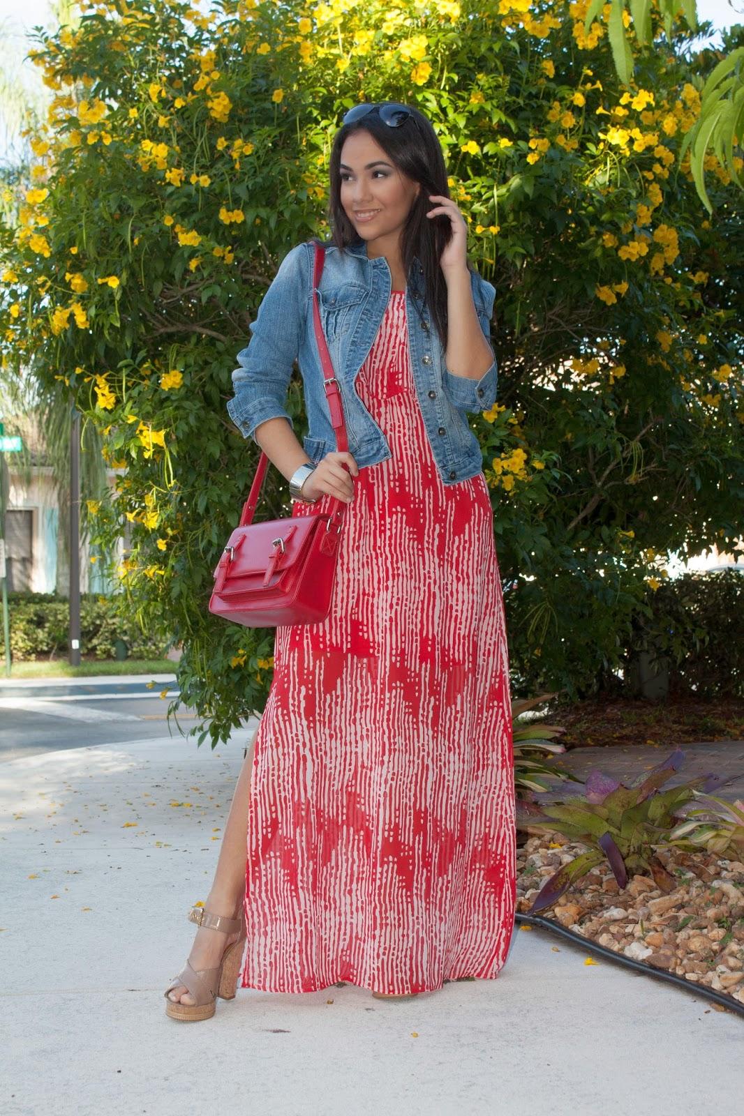 Red blue maxi dress