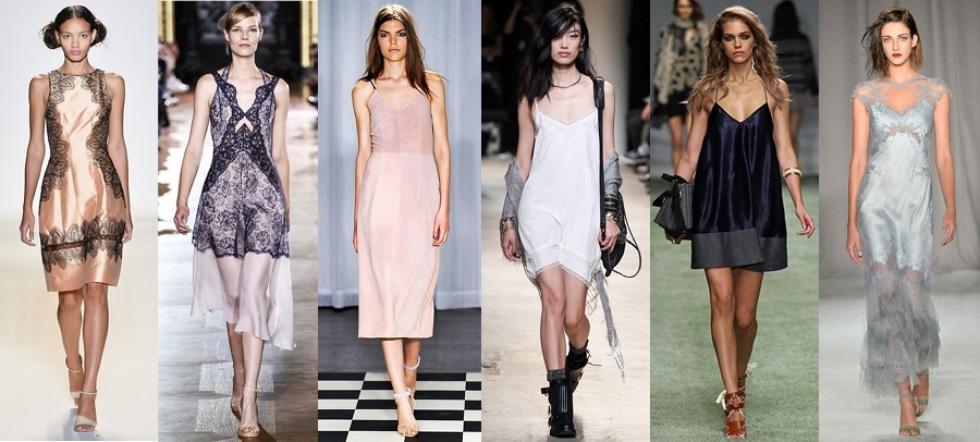 Slip Dresses in Underwear as Outerwear Trend SS14
