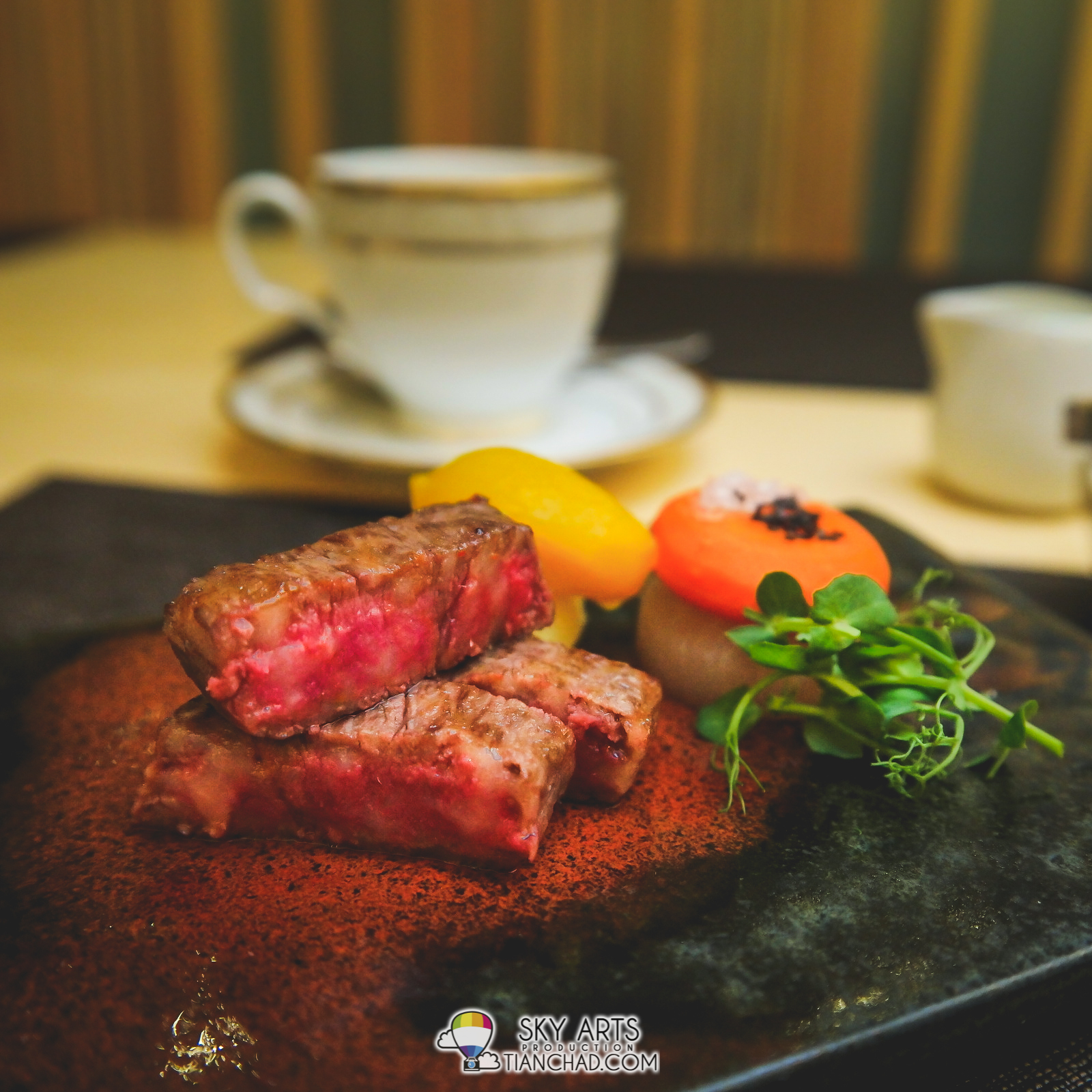 Succulent Akita Wagyu Steak paired with Black and White Sea Salts